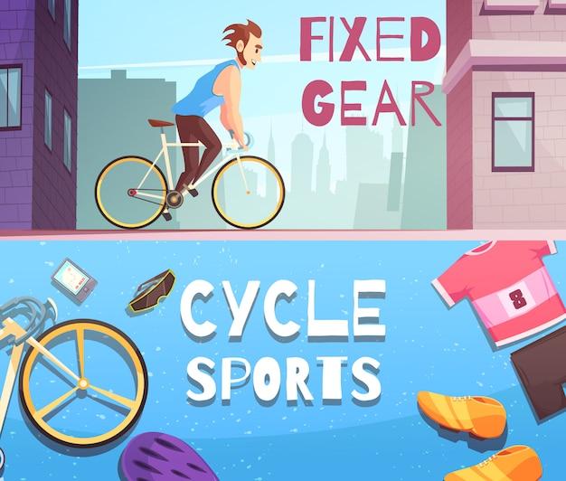 Zyklus-sport-horizontaler karikaturfahnensatz