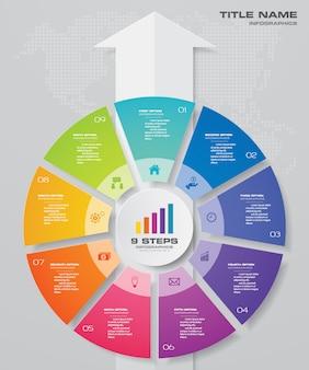 Zyklus- und pfeildiagramm infographic für datenpräsentation
