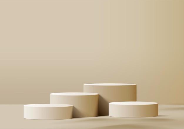 Zylinder abstrakte minimale szene mit geometrischer plattform. 3d-rendering mit podium. bühnenvitrine auf modernem 3d-beigepastell des sockels