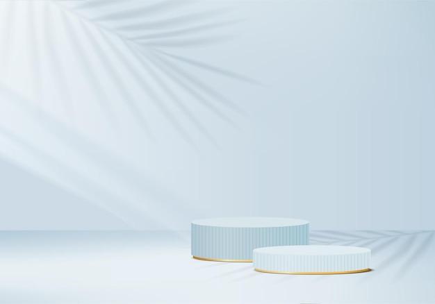 Zylinder abstrakte minimale szene mit geometrischer plattform. sommerhintergrund-rendering mit podium. stehen, um kosmetische produkte zu zeigen. bühnenvitrine auf sockel modernes studio blau pastell
