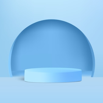 Zylinder mit bogenform auf dem blauen hintergrund