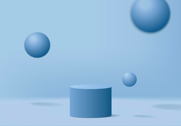 Zylinderanzeige minimale szene mit geometrischer plattform.