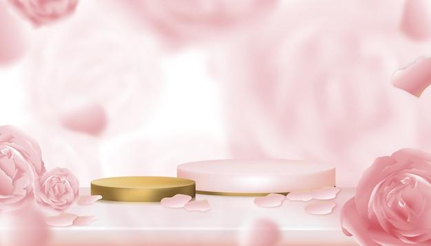 Zylinderpodium-vitrinendisplay mit verschwommenem rosenhintergrund