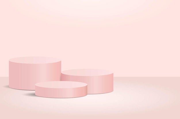 Zylinderrosa hintergrundpodest und produktanzeigeszene des zylinders, um produkt zu zeigen