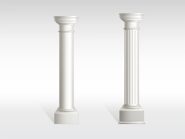 Zylindrische säulen aus weißem marmor mit glatten, strukturierten säulenoberflächen