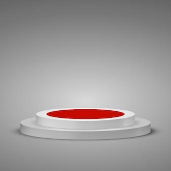 Zylindrisches podium mit rotem teppich. bühnenszene mit einem schritt inszenieren.