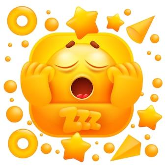 Zzz web sticker. gelber emoji gähnt schläfrigen charakter.