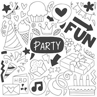 0001 festa de mão desenhada doodle feliz aniversário