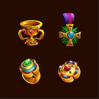 01 jogos troféus medalhas colar ícones