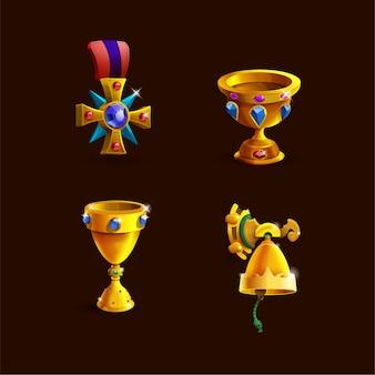 02 jogos troféus medalhas colar ícones