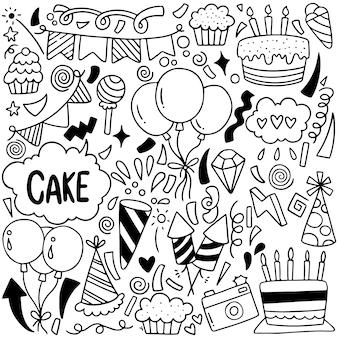 07-09-065 mão desenhada festa doodle feliz aniversário ornamentos padrão de fundo ilustração vetorial