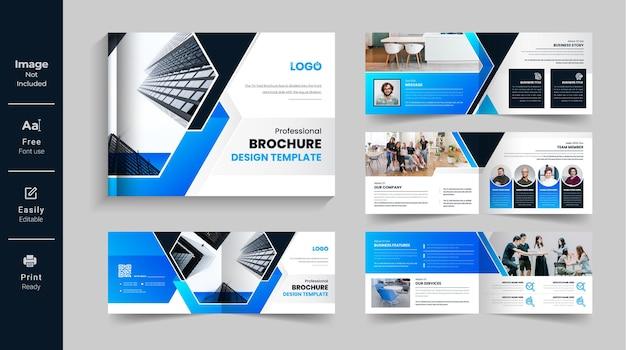 08 página corporativa moderna paisagem bi dobra modelo de folheto perfil da empresa design de relatório anual