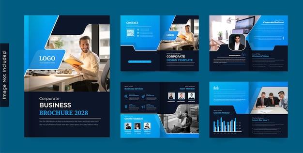 08pages modelo de design de brochura de negócios corporativos tema escuro colorido