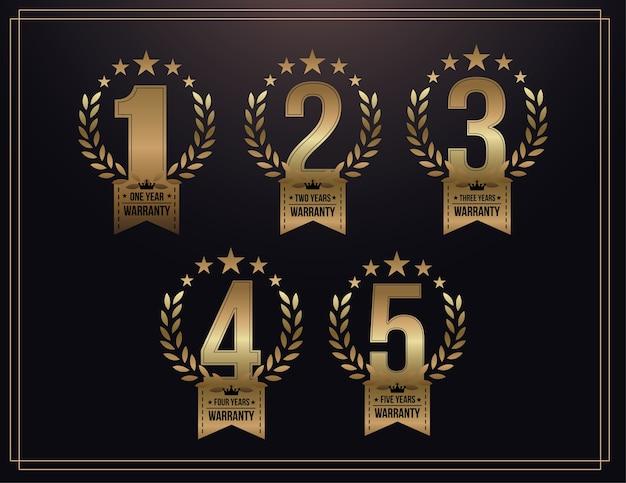 1, 2, 3, 4, 5 anos fundo de garantia com fita dourada e ramo de oliveira Vetor Premium