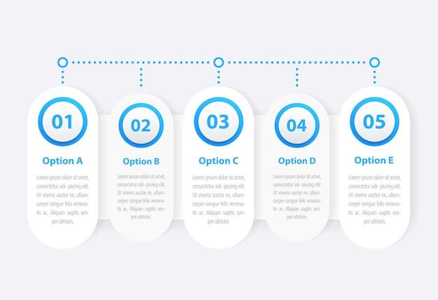 1, 2, 3, 4, 5 etapas, infográficos de negócios, linha do tempo