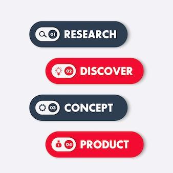 1, 2, 3, 4 etapas, linha do tempo, gráfico de progresso, elementos de infográficos, etiquetas em vermelho e azul