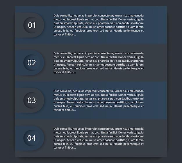 1,2,3,4 etapas, linha do tempo, rótulos, elementos de infográficos