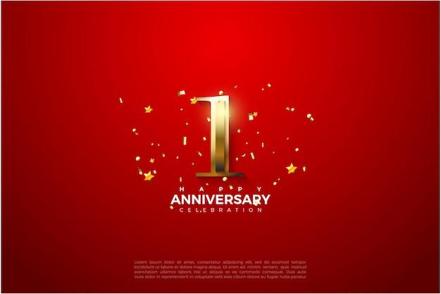 1º aniversário com ilustração de número ouro brilhante.