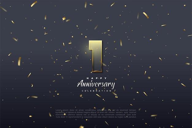 1º aniversário com ilustração de números graduados e borda marrom dourada.