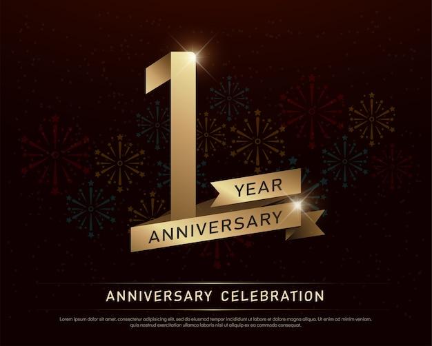 1º ano aniversário comemoração número ouro