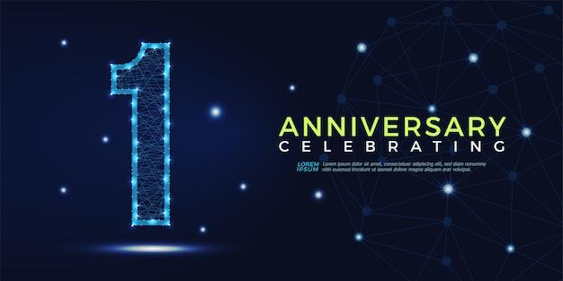 1 ano aniversário comemorando números poligonal abstrata