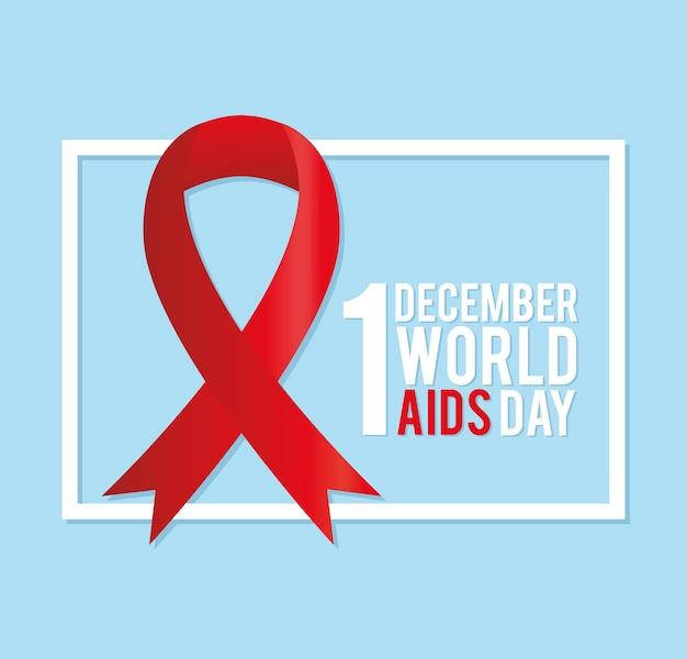 1 de dezembro letras do dia mundial da aids com uma grande fita vermelha à esquerda na ilustração quadrada