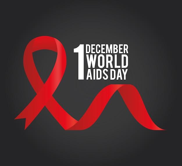 1 de dezembro letras do dia mundial da aids com uma ilustração de fita vermelha