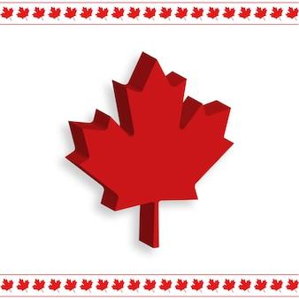 1 de julho dia feliz do canadá bandeira do canadá folha 3d no fundo branco