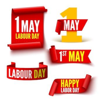 1 de maio, banners vermelhos do dia do trabalho. conjunto de fitas e adesivos.
