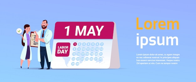 1 de maio, internacional, dia trabalho, feriado, bandeira, com, doutores, ficar, sobre, calendário