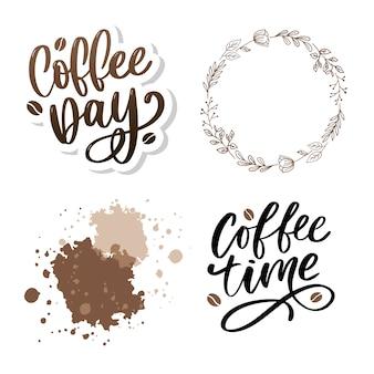 1 ° de outubro dia internacional do café. conjunto de letras