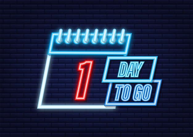 1 dia para ir. ícone de estilo neon. design tipográfico do vetor. ilustração em vetor das ações.