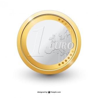 1 € moeda vector