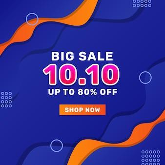 10 10 de outubro grande venda oferta promoção banner vendas publicidade mídia social modelo de postagem com fundo azul onda fluida