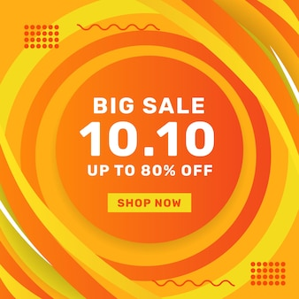 10 10 de outubro grande venda oferta promoção banner vendas publicidade mídia social post template com fundo laranja decorativo