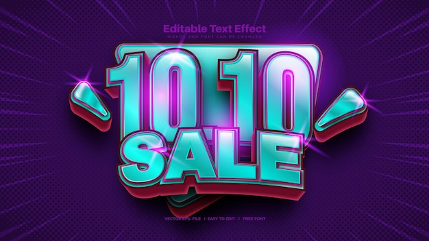 10.10 efeito de texto de promoção de venda