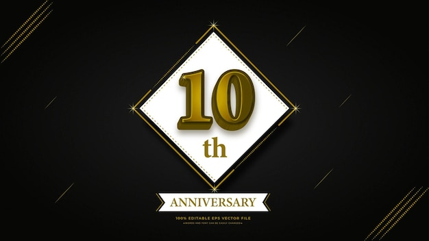 10º aniversário com efeito de texto dourado