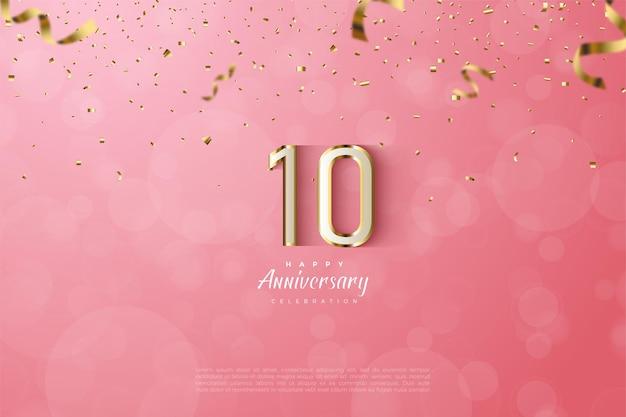 10º aniversário com números brancos em uma faixa dourada em um fundo rosa