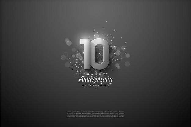 10º aniversário com números de prata