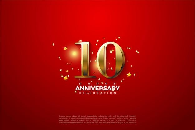 10º aniversário com números dourados sobre fundo vermelho