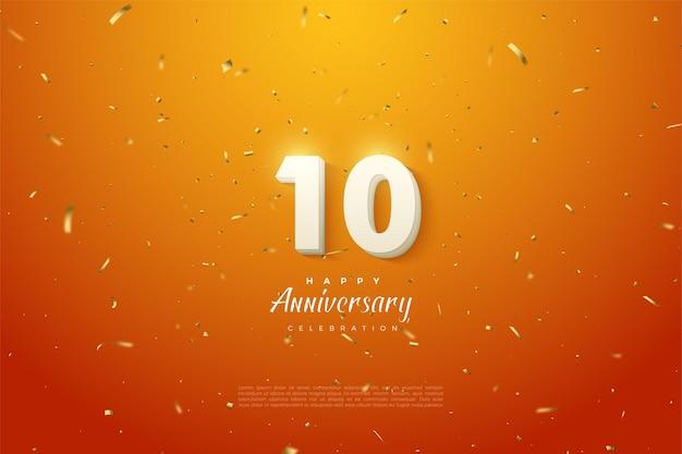 10º aniversário com números em relevo em um fundo laranja