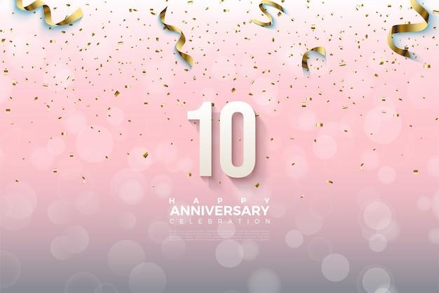 10º aniversário com números sombreados em fundo graduado