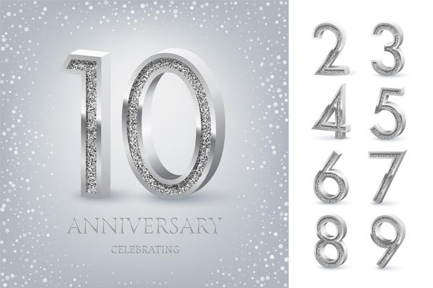 10º aniversário comemorando texto prateado e confetes em fundo azul claro com números