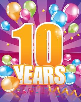 10 anos de cartão de aniversário