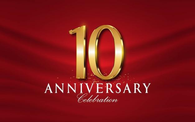 10 anos de números de aniversário em estilo dourado