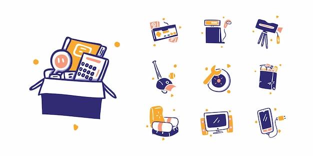 10 compras on-line ou ilustração do ícone de comércio eletrônico no estilo de design desenhado à mão. papelaria, jogo, câmera eletrônica, esporte, passatempo, automotivo, comida, bebida, móveis, computador, handphone acessórios