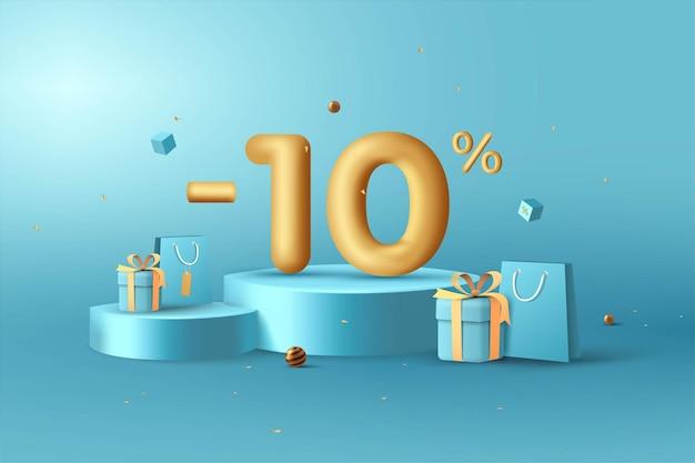 10% de desconto em números de desconto em ouro 3d no pódio com sacola de compras e caixa de presente