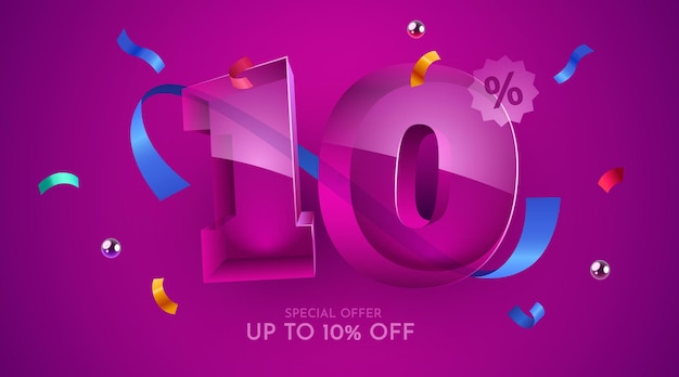 10% de desconto na composição criativa símbolo da mega venda