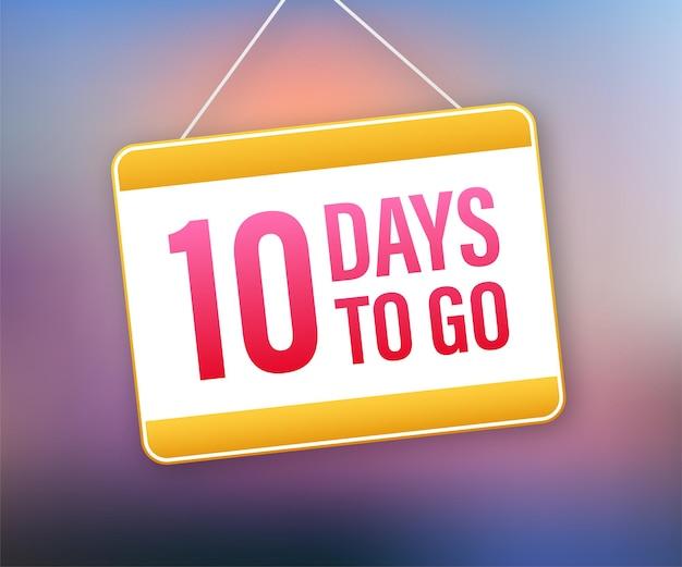 10 dias para ir. ícone do sinal da porta. ícone de tempo. venda de tempo de contagem. ilustração em vetor das ações.