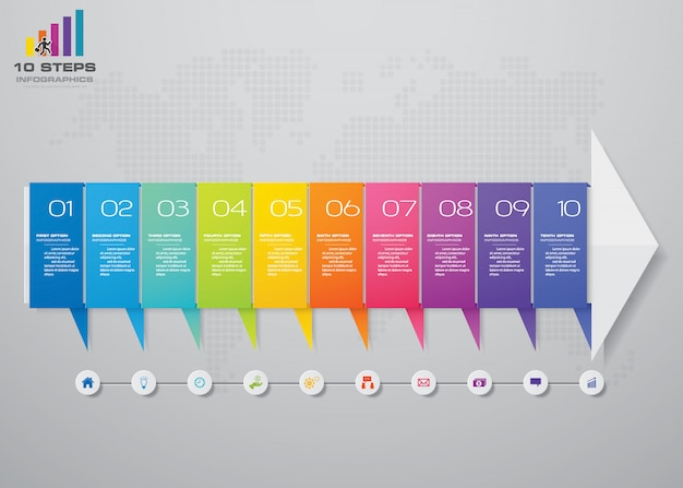 10 etapas infográficos elemento seta modelo gráfico.